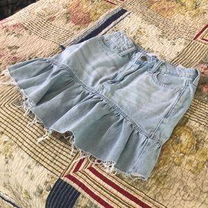 Hollister High rise ruffled Denim skirt